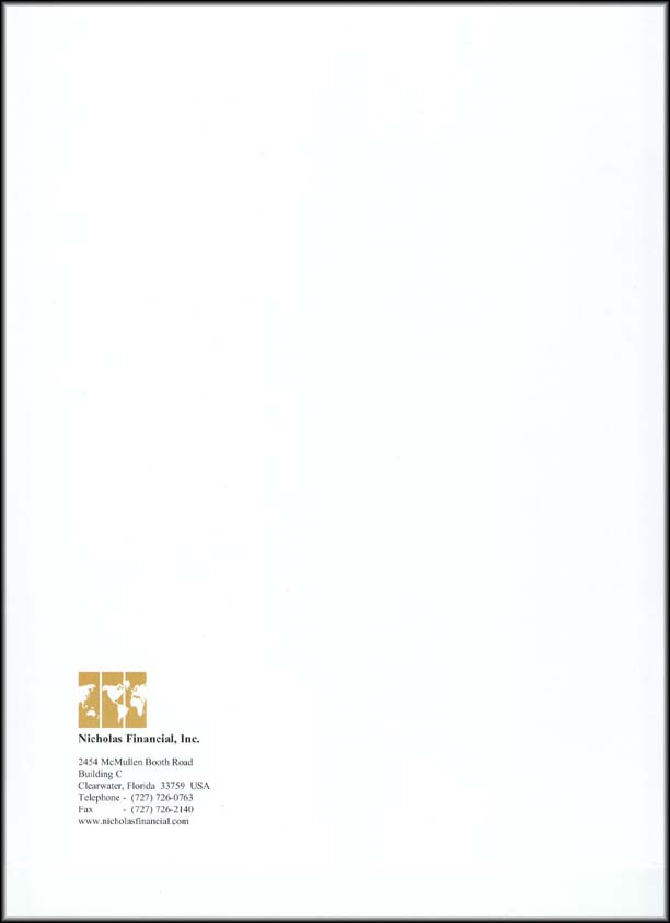 Nicholas Financial 2005 Annual Report - back cover