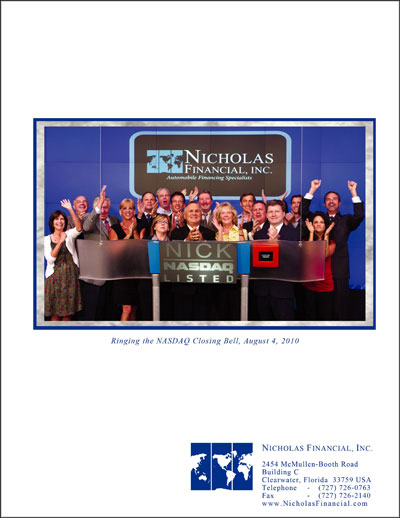 Nicholas Financial 2011 Annual Report - back cover